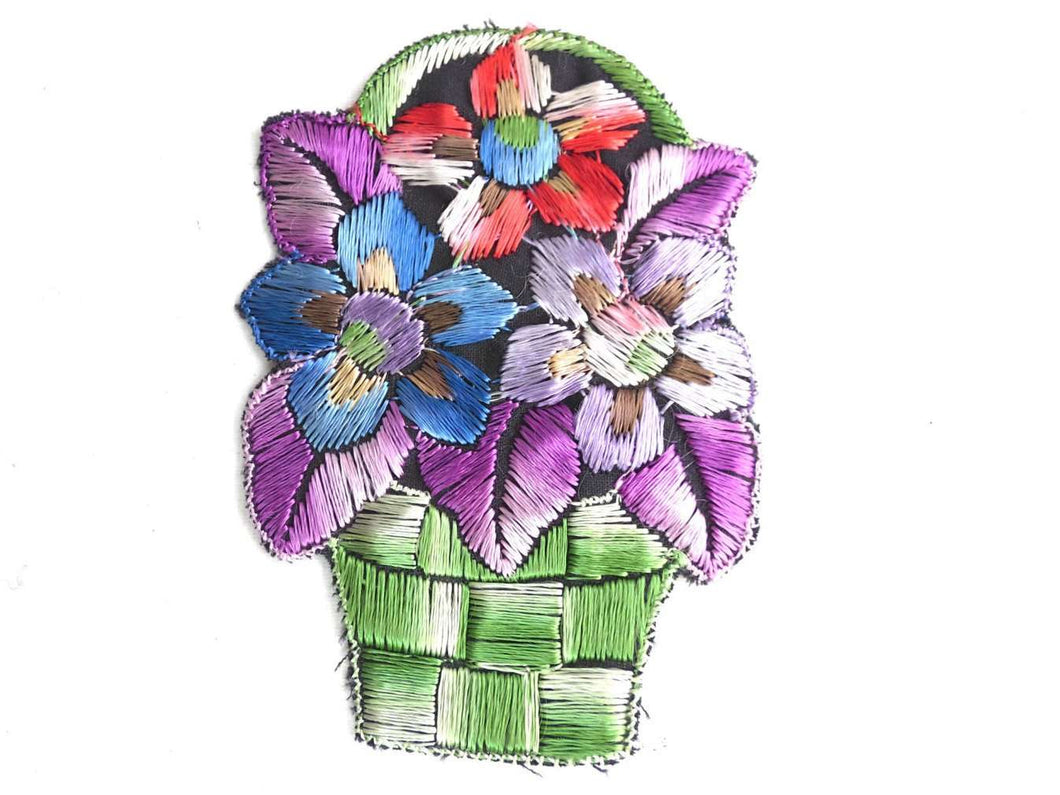 UpperDutch:Sewing Supplies,Flower basket applique, 1930s vintage embroidered applique. Vintage floral patch, sewing supply.