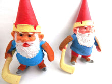 UpperDutch:Gnomes,1 (ONE) Gnome figurine, Gnome after a design by Rien Poortvliet, Brb Gnome, David the Gnome, gnome playing hockey.