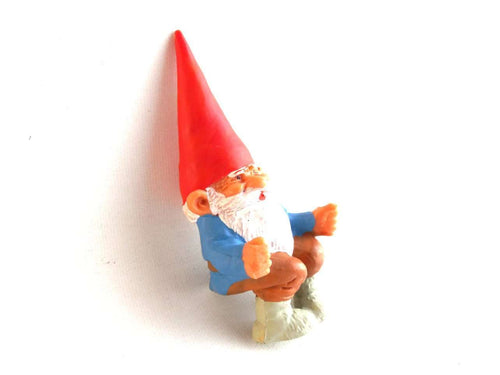 UpperDutch:Gnomes,ONE David the Gnome figurine after a design by Rien Poortvliet, Brb gnome, Sitting Gnome, mini garden gnome.
