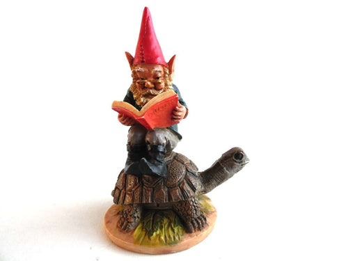 UpperDutch:Gnomes,Gnome figurine, Vintage gnome figurine on a Turtle.