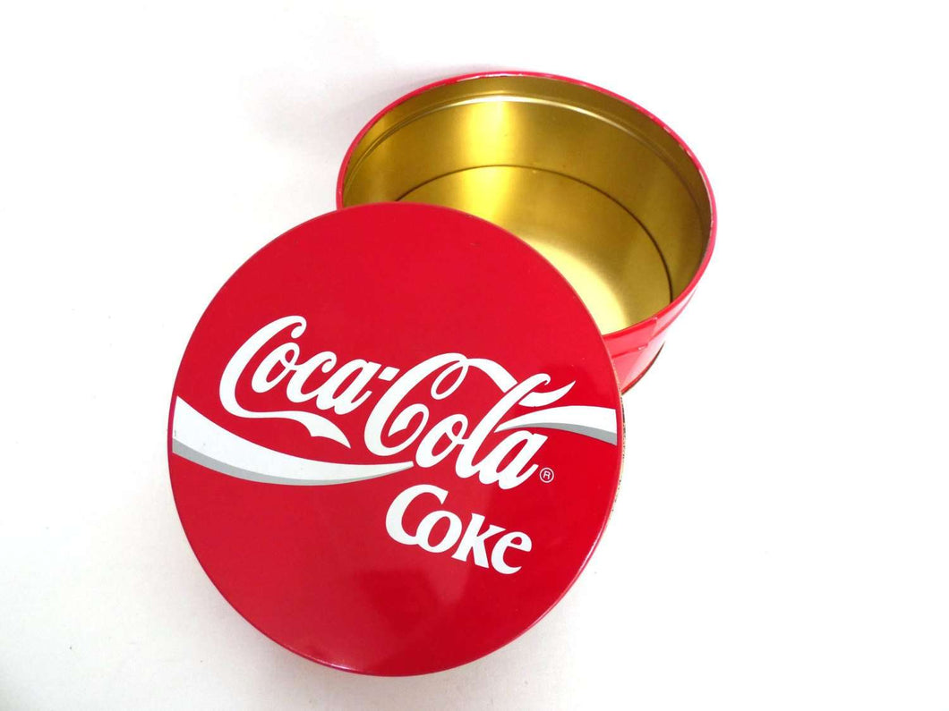UpperDutch:,Coca Cola Round Storage Tin, Coca Cola Tin. Metal box, Coca Cola Collectible, Coca Cola.