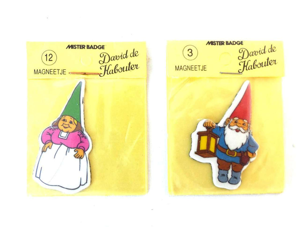 UpperDutch:Gnomes,Set of David the Gnome magnets, Gnome magnet, Gnome after a design by Rien Poortvliet, Brb Gnome, David the Gnome.