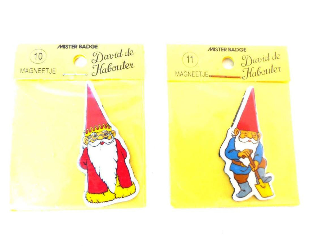 UpperDutch:Gnomes,Set of David the Gnome magnets, Gnome magnet, Gnome after a design by Rien Poortvliet, Brb Gnome, David the Gnome, 1980's.