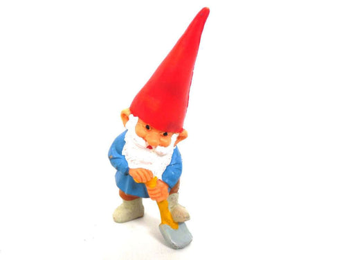 UpperDutch:Gnomes,1 (ONE) Gnome figurine, Gnome after a design by Rien Poortvliet, Brb Gnome, David the Gnome, gnome with shovel.