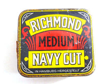 UpperDutch:Tin,Tobacco tin. Richmond Medium Navy Cut. Collectible advertising tobacco, cigar tin. Tobacciana, storage.