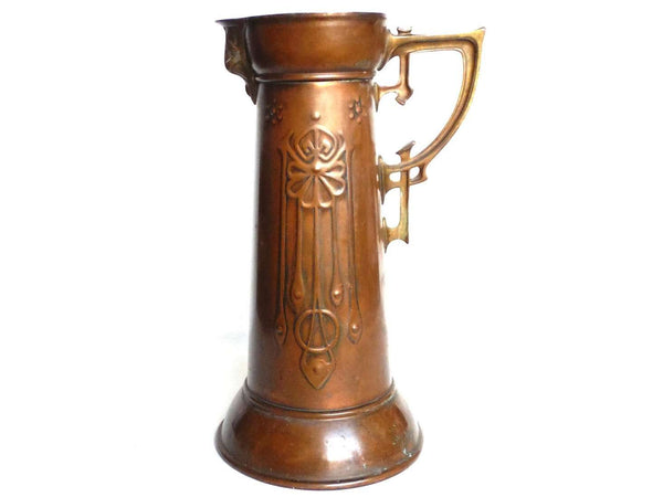 UpperDutch:Home and Decor,Antique Jugendstil Pitcher, Art nouveau Copper with Brass Pitcher. Jugendstill, metal home decor, Vase.