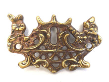 UpperDutch:Hooks and Hardware,1 (ONE) Antique Brass Keyhole cover, escutcheon, keyhole frame plate, floral, hardware.