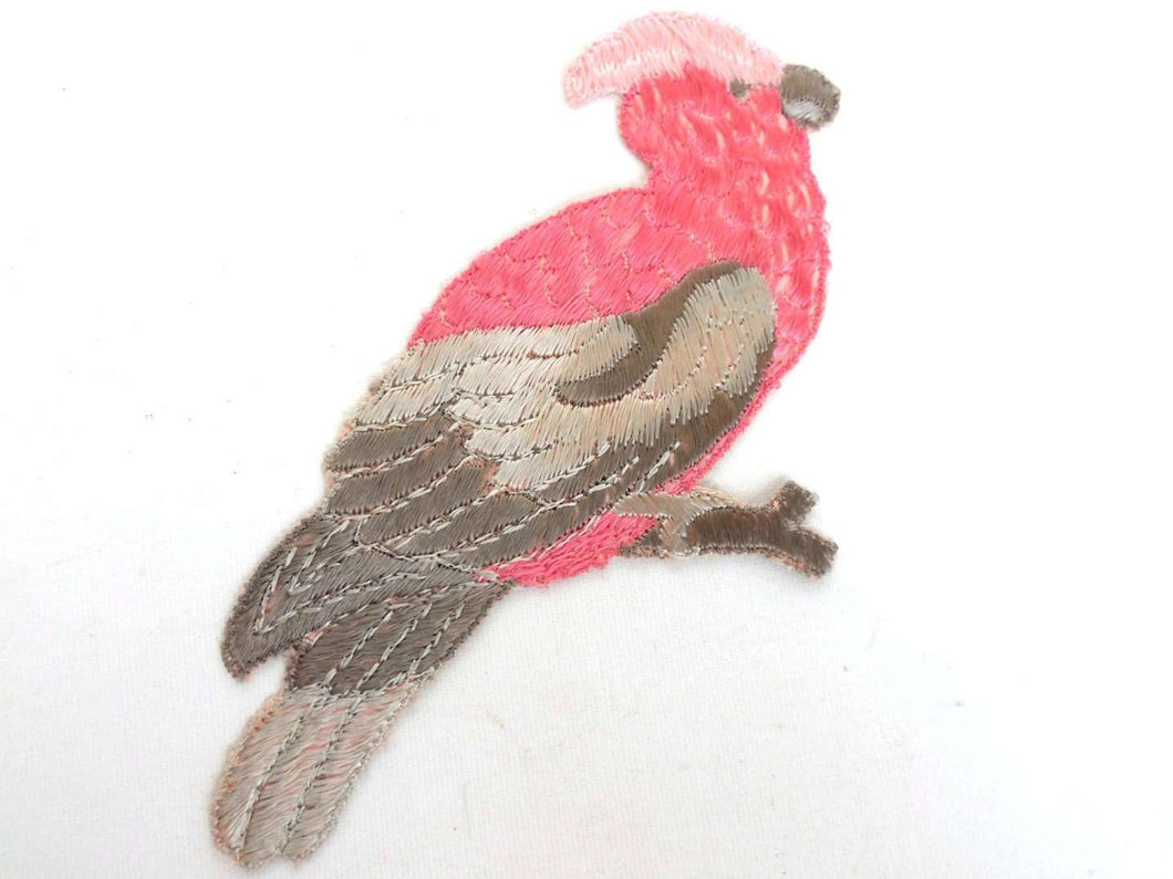 UpperDutch:Sewing Supplies,Antique Bird Applique, Cockatoo, 1930s Vintage Embroidered Bird  applique, application, patch. Vintage patch, sewing supply.