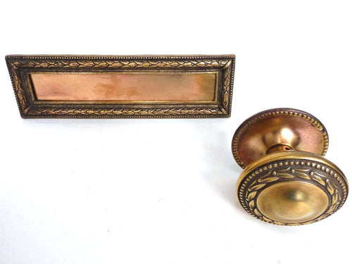 UpperDutch:Hooks and Hardware,Antique Door Knob and a matching Letter Slot. Large Doorknob for Front Door and a Brass Mail Slot, hardware, Front door,