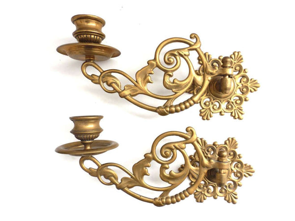 UpperDutch:Candelabras,Piano Sconses, Candle Holders, Pair Antique Solid Brass Victorian Piano Candelabra, Piano Candle holder Candle wall sconce.