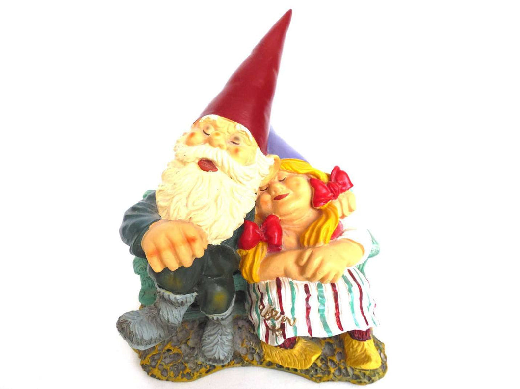 UpperDutch:Gnomes,Rien Poortvliet, 8 INCH Gnome figurine, Gnome after a design by Rien Poortvliet, Gnome Couple on a Couch, Klaus Wickl.