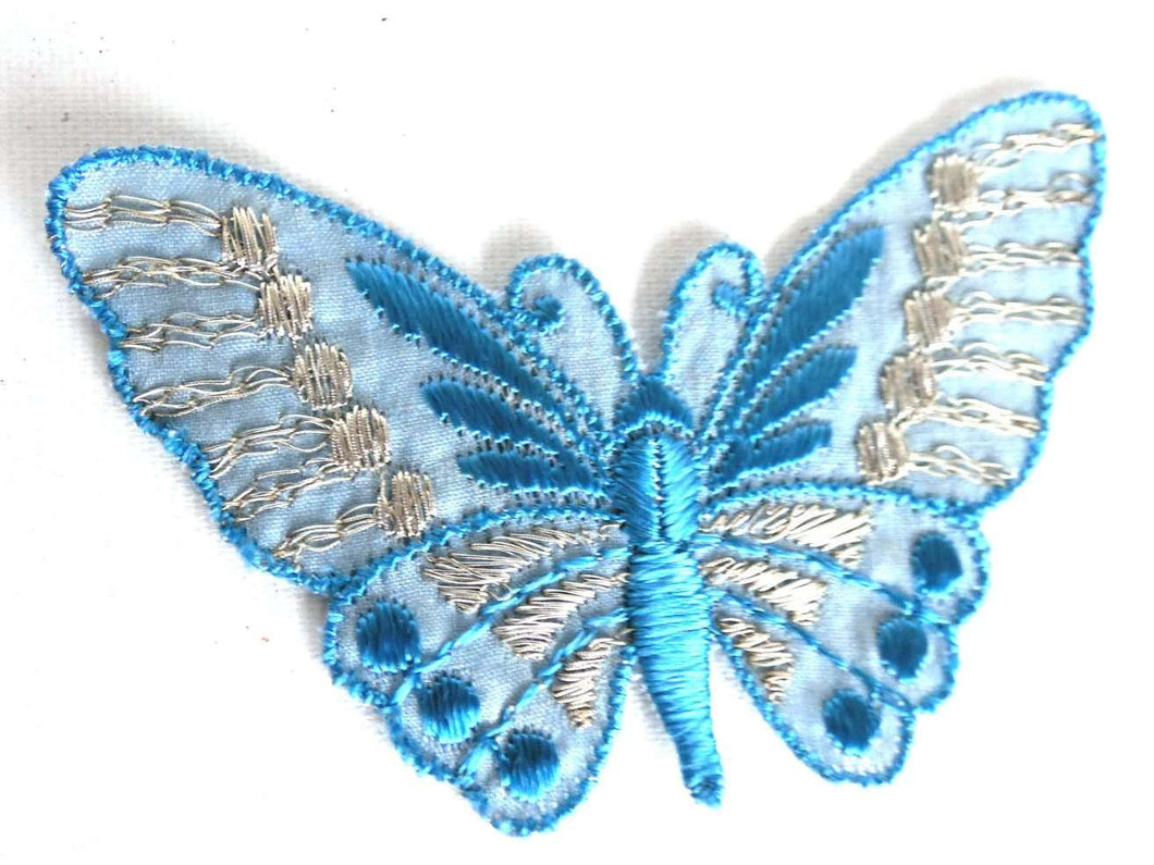 UpperDutch:Sewing Supplies,Butterfly applique, 1930s vintage embroidered applique. Vintage patch, sewing supply. Blue Applique, Crazy quilt