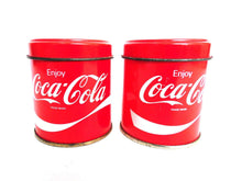 UpperDutch:,Set of 2 Small Coca Cola Storage Tin, Coca Cola Tin. Metal box, Coca Cola Collectible, Coca Cola, enjoy coca cola.