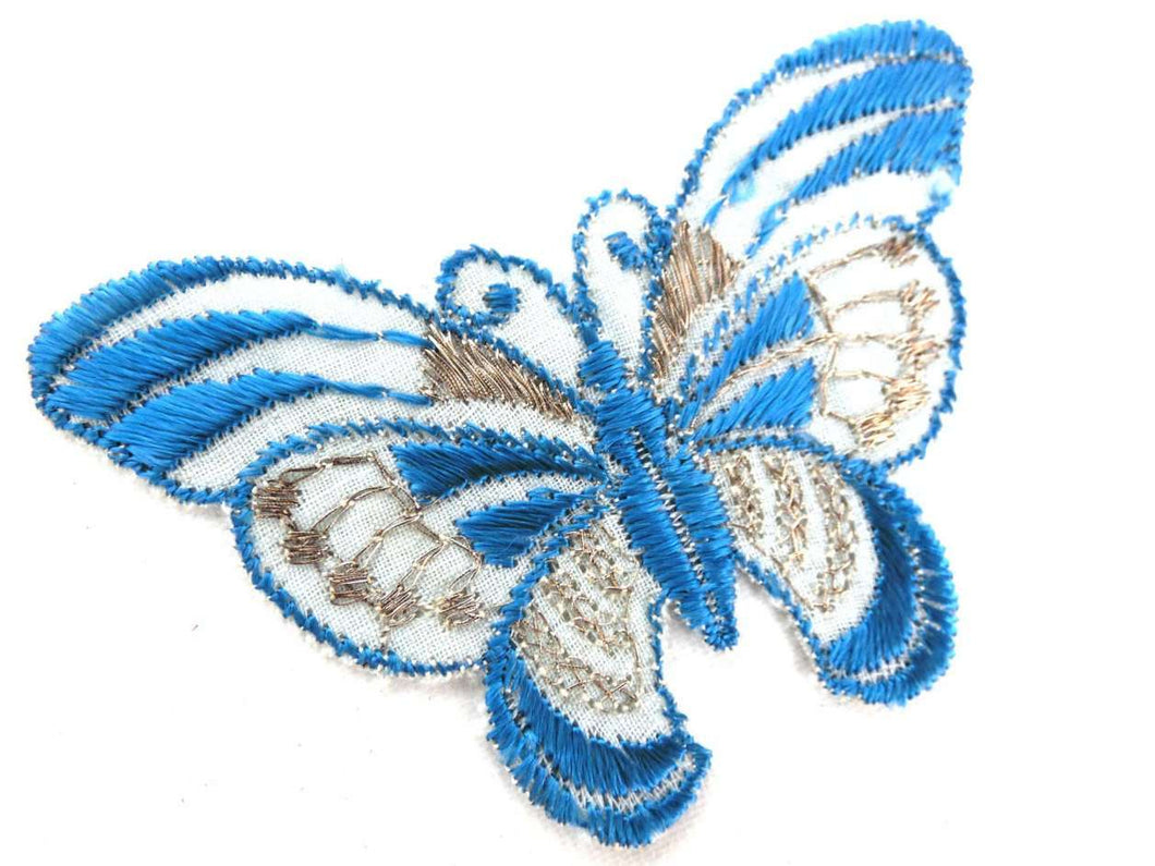 UpperDutch:Sewing Supplies,Butterfly applique, 1930s vintage embroidered applique. Vintage patch, sewing supply. Blue Applique, Crazy quilt.