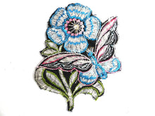 UpperDutch:Sewing Supplies,Applique, butterfly, flower patch, 1930s vintage embroidered applique. Vintage floral patch, sewing supply.
