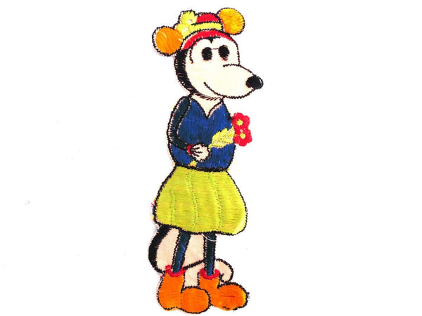 UpperDutch:Sewing Supplies,Antique Applique, Minnie Mouse applique, Very rare Collectible 1930's Minnie Mouse Applique, Silk embroidered applique.