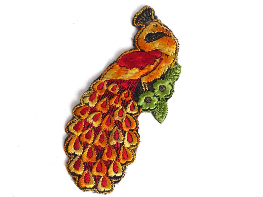 UpperDutch:Sewing Supplies,Peacock Applique, 1930s Antique Embroidered Peacock applique, application, patch. Vintage bird patch, sewing supply.