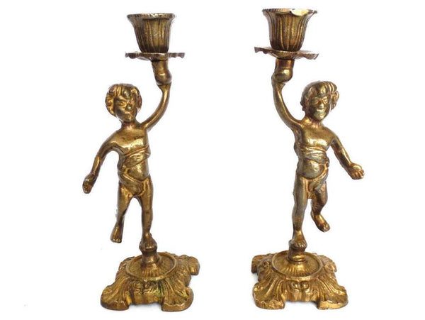 UpperDutch:Candelabras,Cherub, Candle Holders. Set of 2 Solid Brass Candle holders. Cherub, Putti. French home decor.