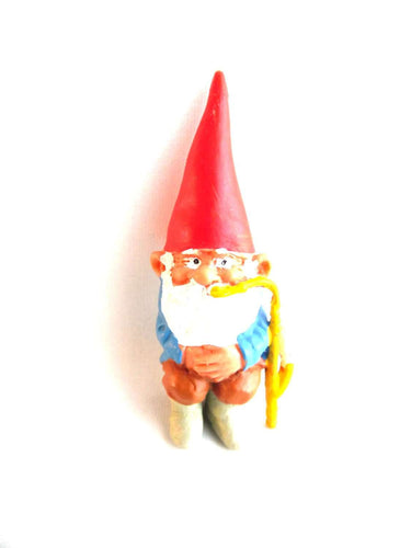 UpperDutch:Gnomes,ONE David the Gnome figurine after a design by Rien Poortvliet, Brb gnome, Sitting Gnome smoking pipe ,mini garden gnome.