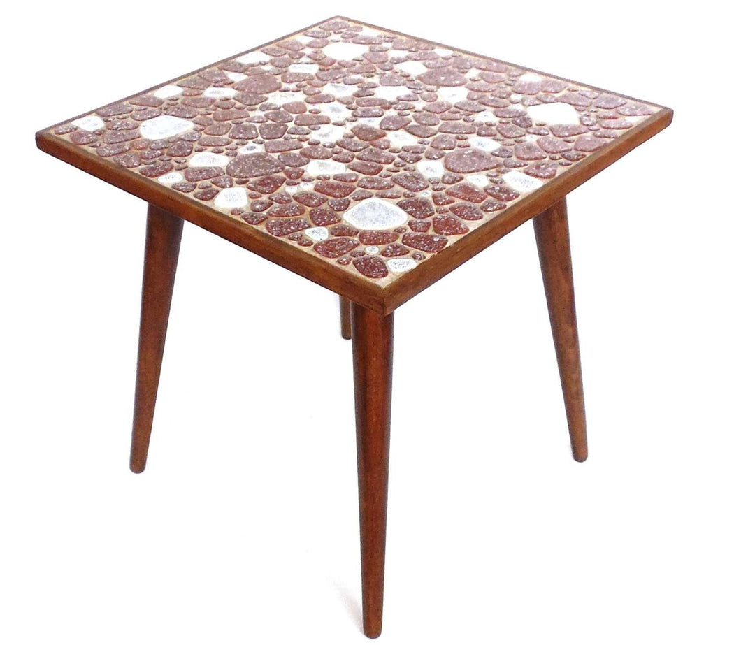 UpperDutch:Furniture,Vintage Small Side Table, Plant stand, Mosaic Table, Mid Century. 1950s-1960s, Retro table, Mosaic, End table.