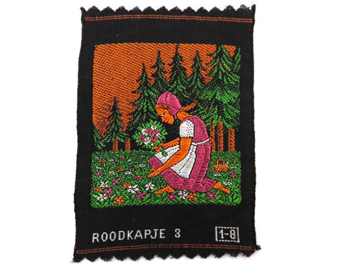 UpperDutch:Sewing Supplies,Little Red Riding Hood, Applique, 1930s Antique Embroidered applique, application, patch. Vintage patch, sewing supply.