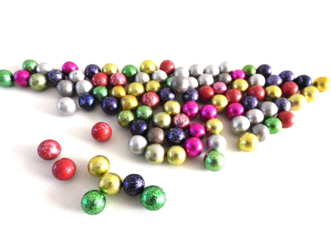 UpperDutch:Marbles,Shiny Antique Marbles, Mix of 90 Very Small Rare Clay Glittery Marbles, mixed colors colours. Colored coloured Jewelry supply.
