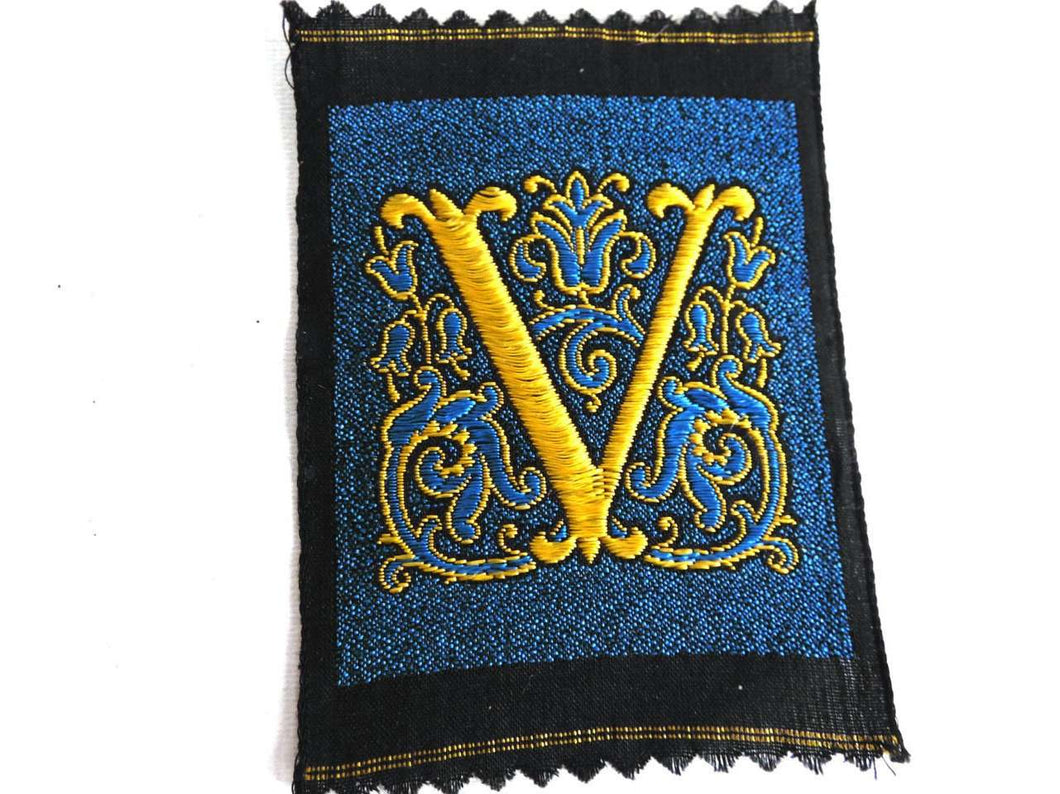 UpperDutch:Sewing Supplies,Monogram V Applique  1930s Vintage Embroidered 'Letter V' applique. Alphabet Patch / Monogram application, antique letter.