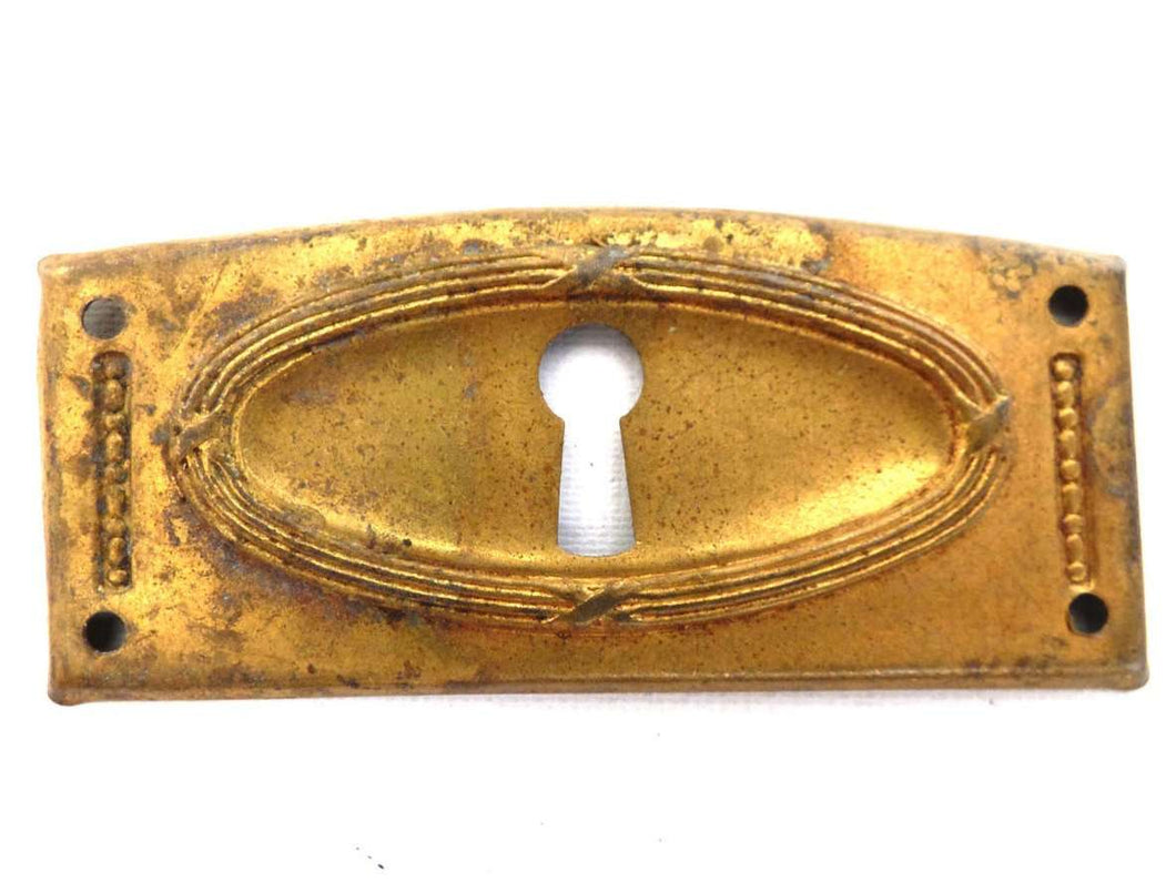 UpperDutch:Hooks and Hardware,Authentic Art Deco Keyhole cover, Stamped Escutcheon, key hole plate.