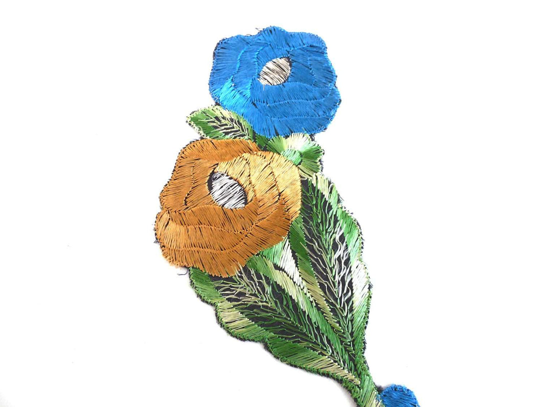 UpperDutch:Sewing Supplies,Antique Applique, Flower Patch, Applique, flower applique, 1930s  embroidered applique. Vintage floral patch, sewing supply.