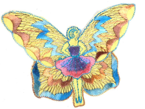 UpperDutch:Sewing Supplies,Antique fairy applique, butterfly applique, 1930s vintage embroidered applique. Vintage patch, sewing supply.