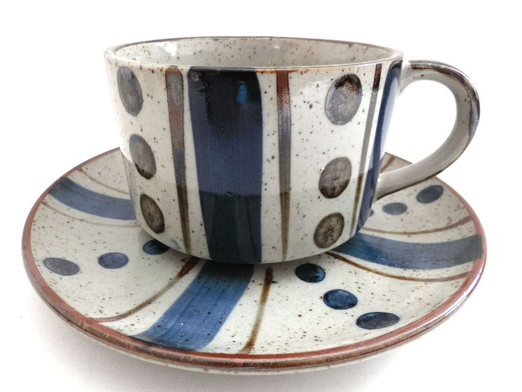UpperDutch:Pottery,Soup Bowl and Saucer, Sixties, Vintage Speckled Pottery, Stoneware, Speckled, Collectible pottery, Japan.