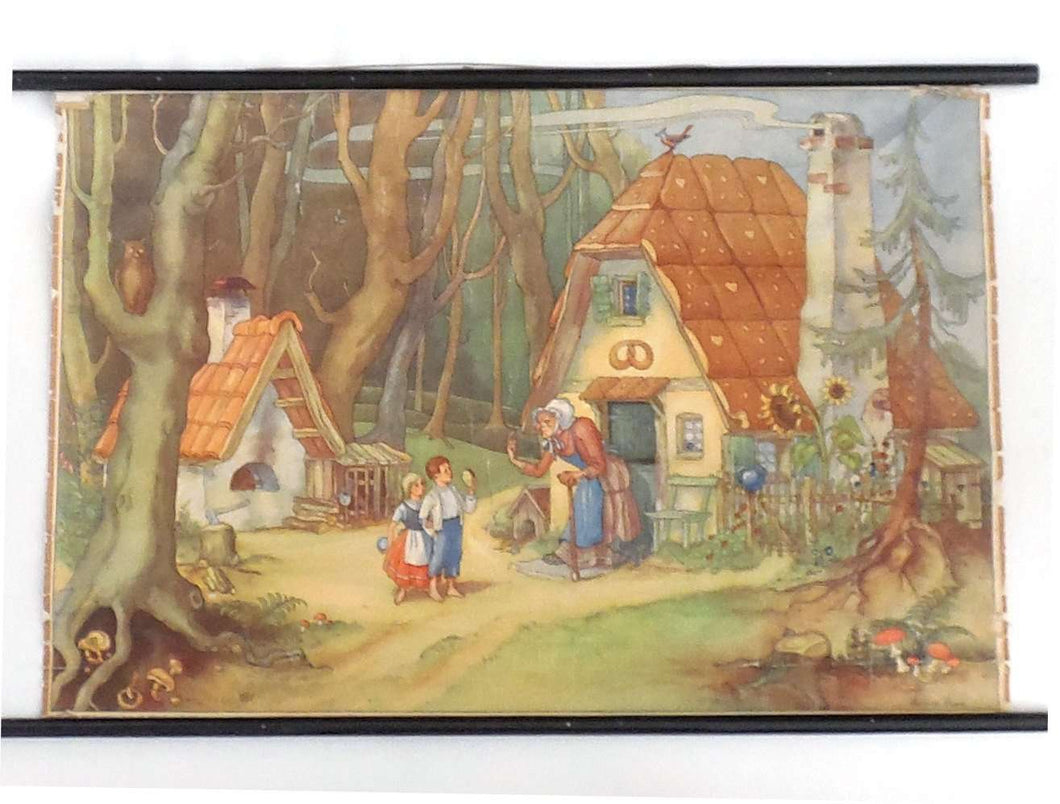 UpperDutch:School Chart,Pull down chart, Hansel and Gretel, School chart . Grimm's fairytailes fairy tales. Hansel und Gretel wall chart. Child room