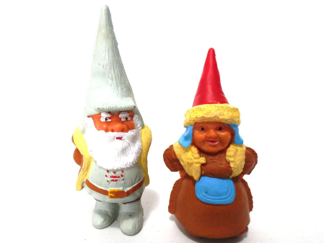 UpperDutch:Gnomes,Set of David the Gnome figurines after a design by Rien Poortvliet, Brb collectible pocket gnomes david, lisa garden gnome.