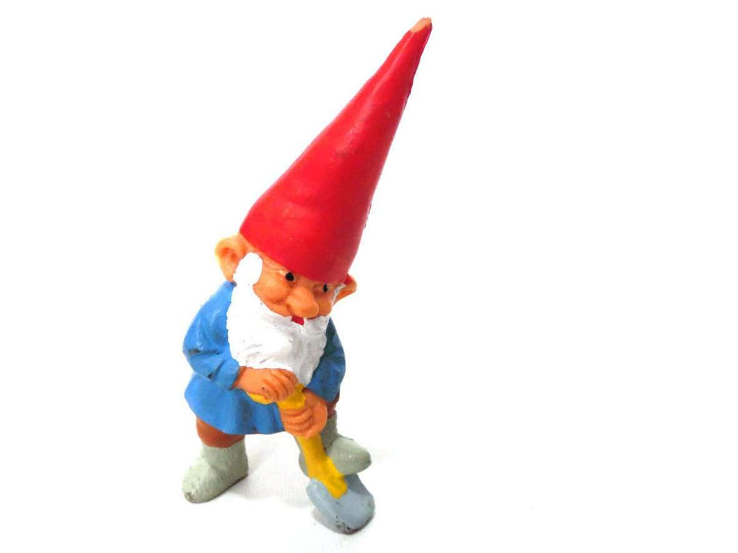 UpperDutch:Gnomes,Gnome figurine, Gnome after a design by Rien Poortvliet, Brb Gnome, David the Gnome, gnome with shovel.