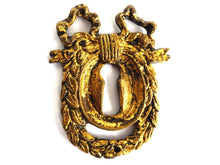 UpperDutch:Hooks and Hardware,Antique Solid Brass Keyhole plate, Keyhole cover, escutcheon, key hole frame, Ormolu finish, victorian style.