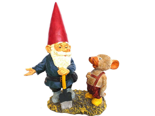 UpperDutch:Gnomes,10 INCH Rien Poortvliet Gnome figurine, Gnome after a design by Rien Poortvliet, David the gnome, Al with Mouse, Klaus Wickl.