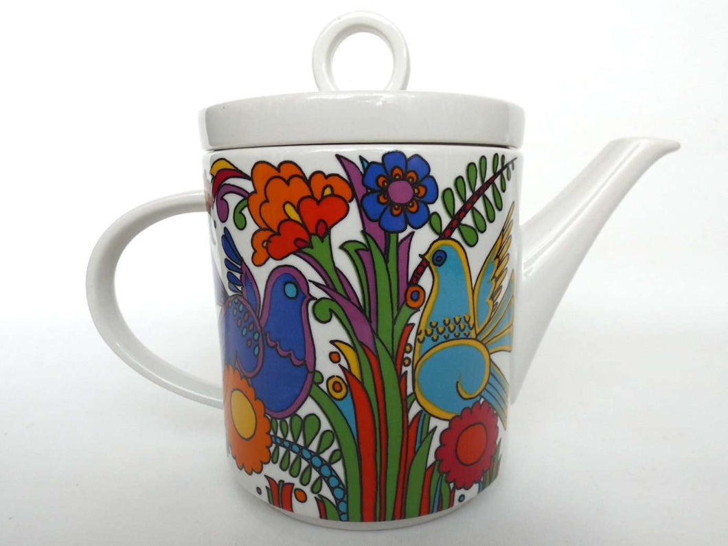 UpperDutch:Pottery,Villeroy and Boch, Acapulco Tea Pot. Luxemburg, Acapulco pattern design Christine Reuter in 1967.
