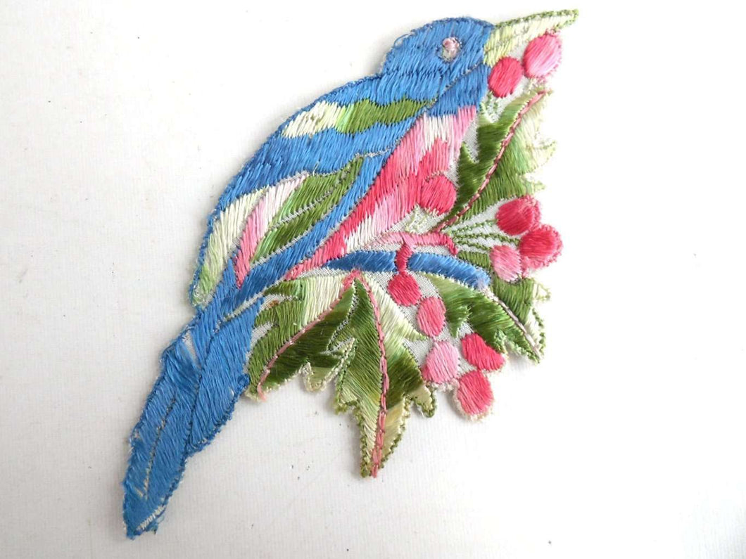 UpperDutch:Sewing Supplies,Bird Applique, 1930s Vintage Embroidered Bird  applique, application, patch. Vintage patch, sewing supply, antique applique.