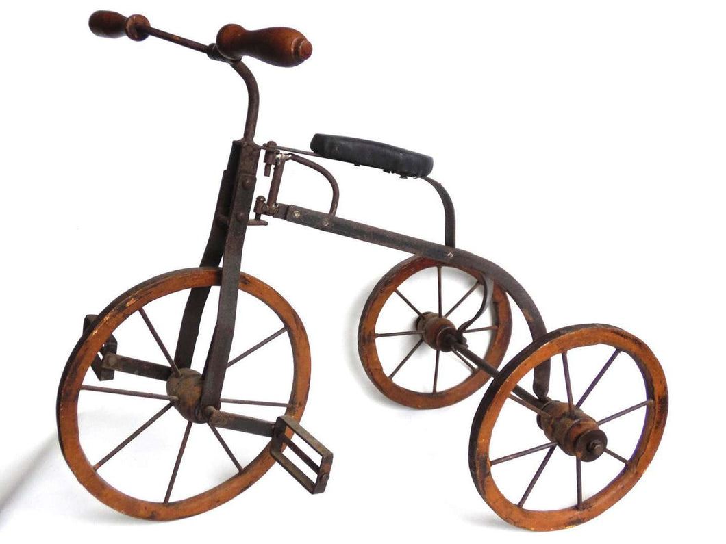 UpperDutch:Home and Decor,Tricycle, Metal & Wooden Toy Tricycle, Antique Doll Replica Decor Accessory, children's room decoration.