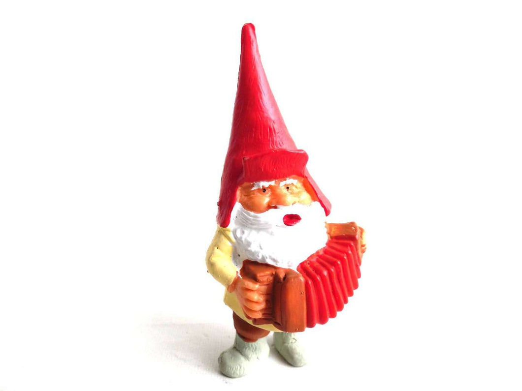 UpperDutch:Gnomes,Gnome figurine, Gnome after a design by Rien Poortvliet, Brb Gnome, David the Gnome, gnome with accordion.