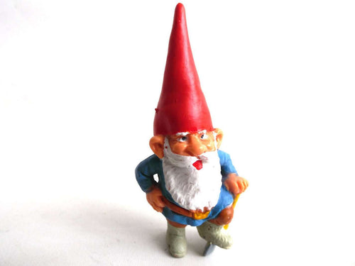 UpperDutch:Gnomes,1 (ONE) Gnome figurine, Gnome after a design by Rien Poortvliet, Brb Gnome, David the Gnome, miniature gnome with ax. Lumberjack