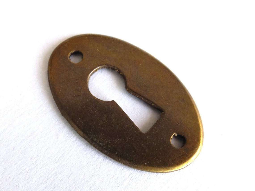 Picture of: 1 One Small Oval Keyhole Cover Vintage Brass Escutcheon Key Hole F Upperdutch