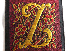 UpperDutch:Sewing Supplies,Monogram Z Applique, 1930s Vintage Embroidered 'Letter Z' applique. Alphabet Patch / Monogram application, antique letter.