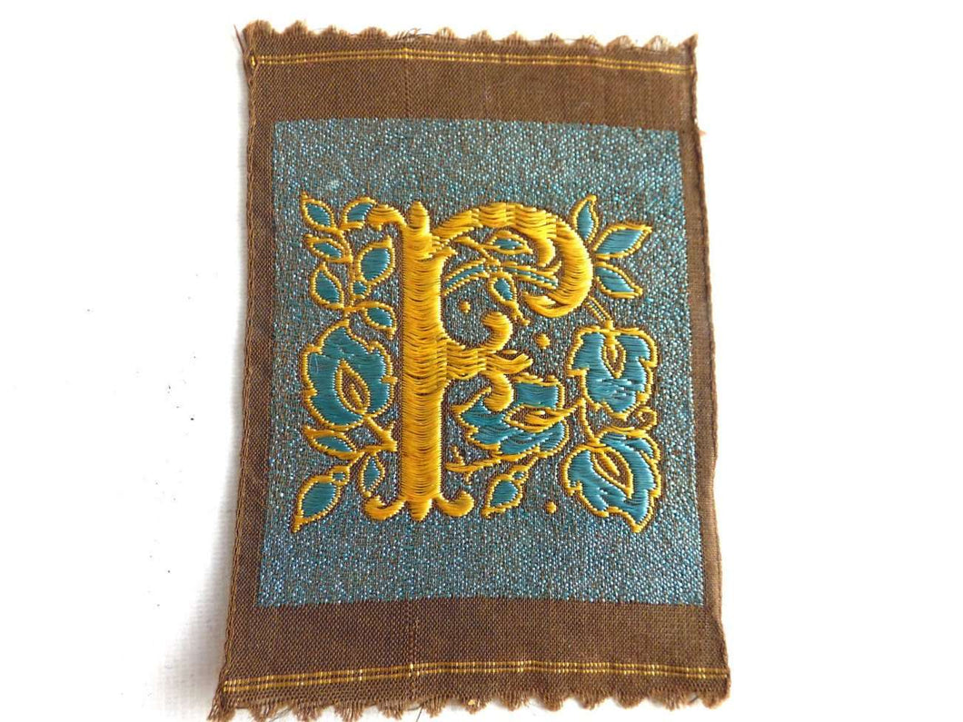 UpperDutch:Sewing Supplies,Monogram F Applique  1930s Vintage Embroidered 'Letter F' applique. Alphabet Patch / Monogram application, antique letter.