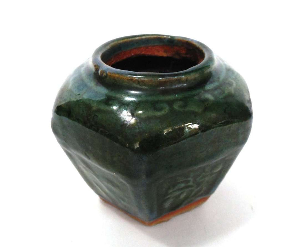 UpperDutch:Ginger Jar,Ginger Jar, Antique Green Glazed Ginger Jar, Collectible pottery.