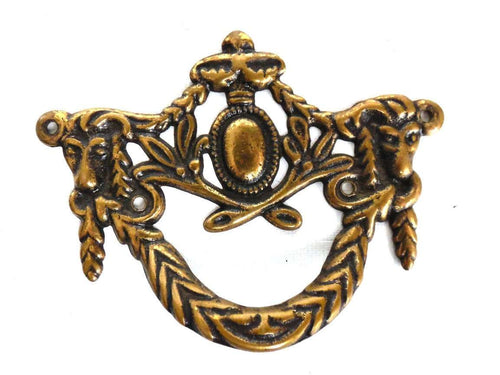 UpperDutch:Hooks and Hardware,1 (one) Drawer Handle, Victorian style Antique Drawer Handle, Vintage Solid Brass Ornate Drawer Pull, Goat, Ram.