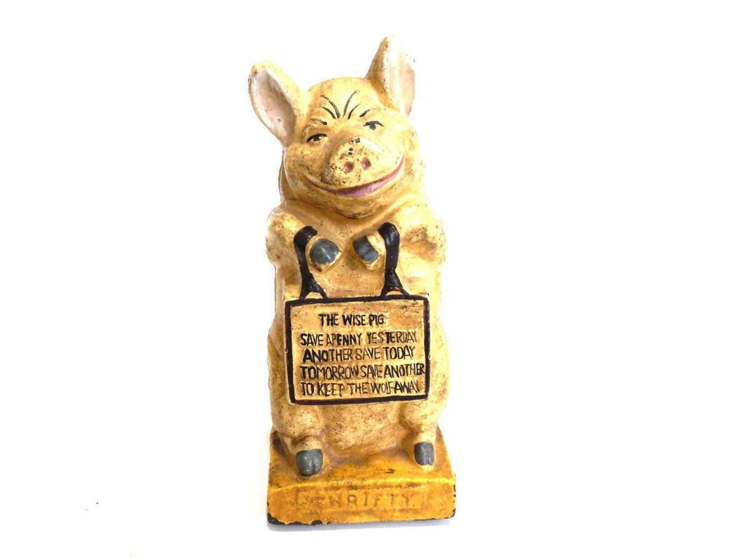 UpperDutch:Home and Decor,Antique Saving bank, Thrifty, The Wise Pig, Piggy bank, Antique cast iron saving bank, pig bank.