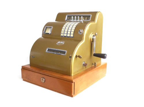 UpperDutch:Home and Decor,1950s Helios Cash Register, Gold tone store decor. Rockabilly decoration. Mechanical Hand crank working cash register.