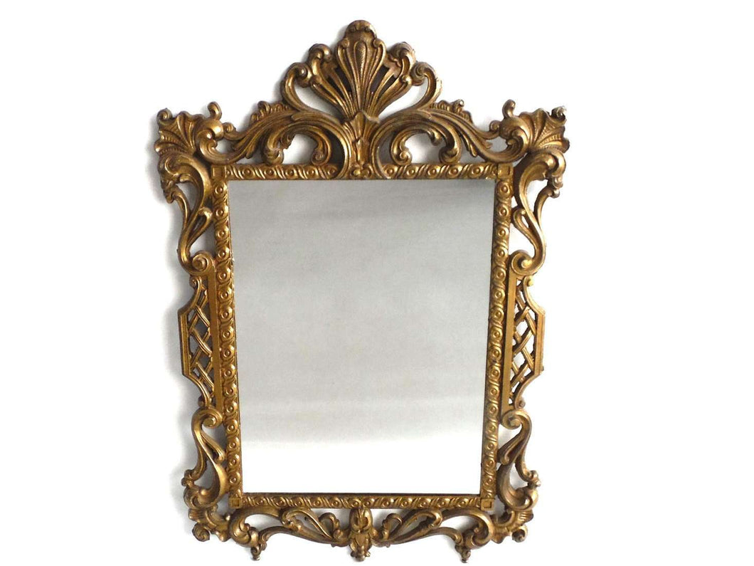 UpperDutch:Home and Decor,Mirror, Vintage Brass plated Victorian Style Mirror. Made in Italy.