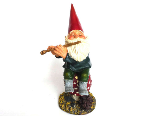 UpperDutch:Gnomes,Rien Poortvliet Garden Gnome,  Amadeus, 13 INCH gnome figurine, Klaus Wickl. Playing the flute on a mushroom, David the Gnome.